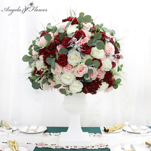 Large Burgundy 3 4 Silk Flower Ball Wedding Banquet Dinner Table Centerpieces Floral Artificial Bouquet Party Props Customize