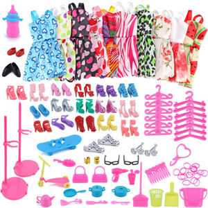 83pc / 1set Barbie Dress Up Ropa Lote Ropa barata Zapatos Muebles para accesorios de muñeca Barbie Ropa hecha a mano # Z1