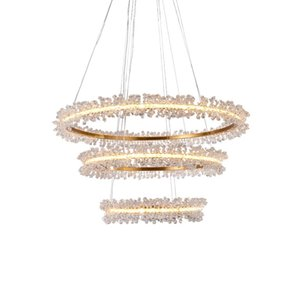 Postmodern crystal pendant light simple personality round creative home bedroom Crystal Staircase pendant lamp hanging Lights