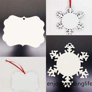 Árbol de Navidad Regalo Colgante Sublimación en blanco Adorno 2021 Recubrimiento de madera Decoración de copos de nieve Copos de nieve Circular Colgantes de estrella DIY