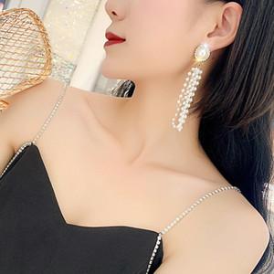 Hochwertige Perlen Perle Quaste Lady Lange Ohrringe baumeln Thread Perle Ohrring Elegent Strass Frauen Hochzeit Ohrring Schmuck Neue