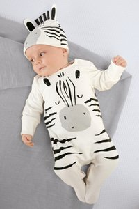 Fashion newborn toddler baby rompers long sleeve cartoon zebra jumpsuit infant clothing set baby boy girl clothes with cap LY168