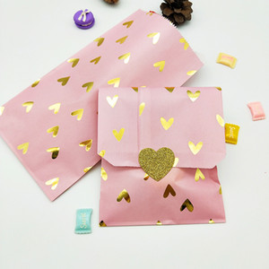 100pcs Pink paper bags with gold foil hearts for Gifts Food Birthday Party Decorations Kids Candy Cookies Paper Bags Stickers Y1121