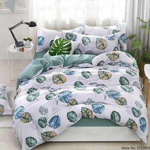 Simple Bed Linens Green Banana Leaf Comforter Bedding Sets Duvet Cover Set Bedcover Bedspread