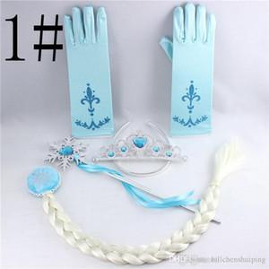 Cosplay Princess Hair Girl Accessories 4pcs / Set Kids Tiara Plastic Crown + Parrucca + Plastica Magic Wand + Glove Co Xotp