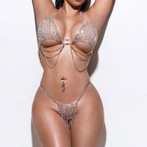 Super Flash Body Jewelry Rhinestone Belly Chain Set Stuck Diamond Tassel Suitp Sexy Beach Bikini Suit