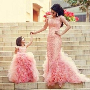 Ruffle Tulle Evening Dress Jewel Neck Party Gown Flower Girls Party Dress Sweep Train Homecoming Dress Hot Sale