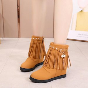 2020 New Style for Autumn and Winter L Shoes Sanding Belt Buckle Head Elevator Boots Boots Semi-High Heeled Tassel