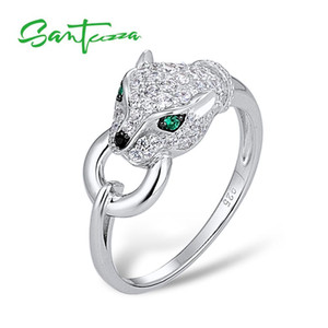 Santuzza Plata Anillo para Mujeres Pure 925 Sterling Sterling Leopard Panther Ring Cubic Zirconia Anillos Partido Trendy Fine Jewelry Y1119