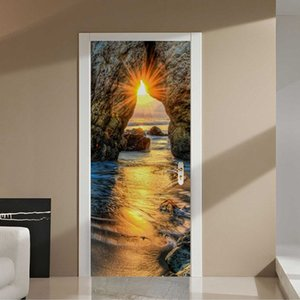 Self-Adhesive Door Sticker 3D Sunset Beach Landscape Oil Painting Wallpaper Living Room Dining Room Home Decor Decals 3D Sticker