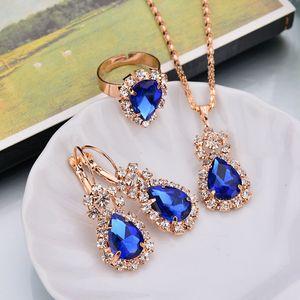 6 Colors Sets Hoop Water Drop Earrings Red Jewelry Set Rhinestones For Women Pendant Necklace Earrings Rings
