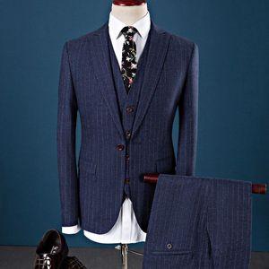 Loldeal Men's Regular Fit 3 Piece Suit Two Button Business Wedding Blazer Jacket Trousers Dress Suits Set