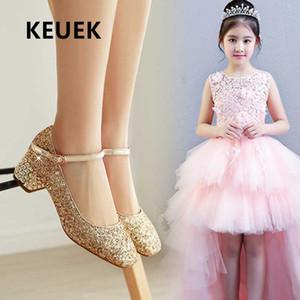 Novas meninas vestido de performance salto alto crianças sapatos de couro princesa Pary Crystal dança mocassins bebê crianças estudante 03
