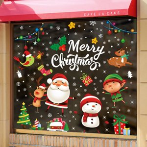 2021christmas Decoration Supplies Window Glass Sticker Wall Stickers Scene Decoration Glass Doors Stickers Holiday Stickers
