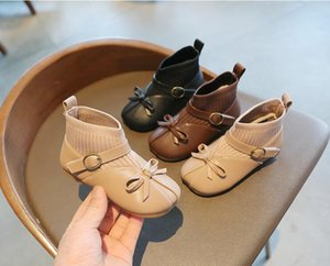 Children's small leather shoes plus cashmere autumn and winter new girls' leather boots middle and small children's socks boots soft bottom