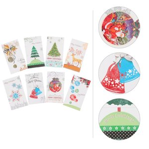 8pcs Adorable Two-fold Christmas Cards Message Cards Invitation Party Supplies