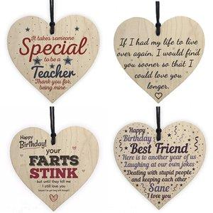 Xmas Wooden Love Amore Natale Decorazioni regalo Placca Pendente a forma di cuore Lettera Amicizia Vino Bottiglia di vino Decor Pendente Tag OWA2462
