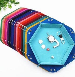 Hexagonal Swan flannel dice plate folding storage box Pu tray desktop storage box 15 colors 23*23cm