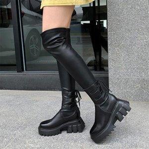 부츠 pxelena 빈티지 고딕 양식의 플랫폼 무릎 여성의 정품 가죽 + PU chunky 블록 뒤꿈치 신발 펑크 록 허벅지 높은 부츠 1