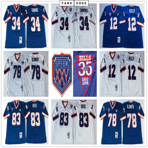 NCAA Fútbol Retro Vintage 78 Bruce Smith Jersey cosido 12 Jim Kelly 34 Thurmen Thomas 83 Andre Reed Jerseys Hombres Blanco Azul