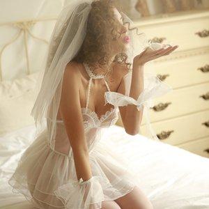 Мода Свадебные белья Одетые в белые кружева Вышитые Спящий Женщины Babydoll Trajes косплей