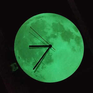 12 inch Grow Moon Wall Clock 30CM Luminous Moon Shape Round Clock Home bedroom office Clcok