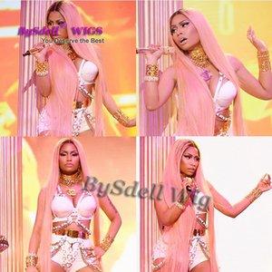 Ünlü Kaya Nicki Minaj Sepet Ödül Gösterisi Peruk Sentetik Pembe Bel / Ayak Uzunluğu Ipek Düz Saç Tam Peruk Orta Parça Saç Derisi Peruk