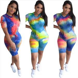 Women Casual Set Female Tie Dye 2 Piece Outfits T Shirt Shorts Suit Summer Streetwear Tracksuit Women Two Piece Sets Sweatsuit