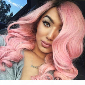 Temperature resistant Pink top synthetic hair lace front Wigs luxury Synthetic Hair Wigs ombre synthetic wigs women