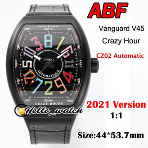 ABF Yeni Çılgın Saat Vanguard V45 3D Art Deco Mark Arama CZ02 Otomatik Erkek İzle PVD Siyah Çelik Kılıf Deri Siyah İç Saatler Hello_Watch