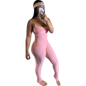 Women Skinney Stacked Jumpsuits Fashion Casual Sleeveless Solid Color Bodysuit Sexy Slim Rompers Combinaison Femme Ladies Clothing