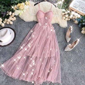 robe femme ete 2020 summer beach dress sundress sweet sequined dress v neck mesh midi elegant ladies dresses