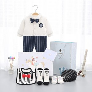 Shoes Hat Coat outfit sets Newborn baby clothes cotton clothing gift winter jumpsuit kids 100 days birthday gift gentleman boy Y1113