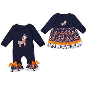 FOCUSNORM Christmas Infant Baby Girls Boys Romper Dress Ruffles Long Sleeve Cartoon Print Lovely Jumpsuits Or A-Line Dress