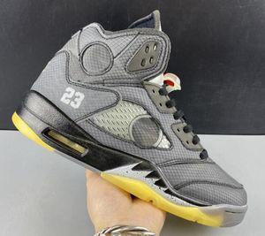 Meilleure Qualité 5 Crème de voile Noir Gris 3M Chaussures de basketball réfléchissant Hommes 5S Sports Sneakers avec boîte