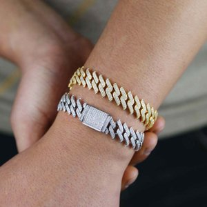 Gothic hip hop bling men bracelet jewelry width 15mm spike cuban link chain iced out 5A CZ Rock punk cuban bracelet necklace set F1214