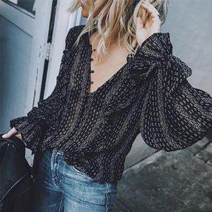 Retro Black Chiffon Women Shirts Casual Long Sleeve V Neck Sexy Loose Shirt Female Blouses Tops XXXL Plus Size