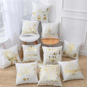 45*45cm Printed Gold Cushion Cover White Gold Pillowcase Sofa Decorative Case Pillows Christmas Pillow Case Festival Decorative