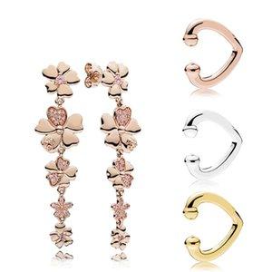 100% 925 Sterling Silver 287114NPR Rose Wildflower Prairie suspendue Boucles d'oreilles 267214 Bond d'oreille à coeur ouverte brillance 297214 287214