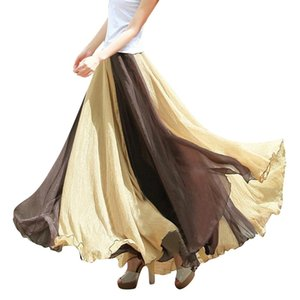 A-Line Maxi Robes Summer Femmes Jupes Patchwork Full Cercle Couleur Flowing Couleur Correspondant Bohemian Skirt élégant Mujer Q1229