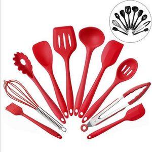 Silicone Kitchenware Borracha Spatula Shovel Pó Frito Ovo Bruxador Bruxas Comida Clipe De Pincel Scraper Ferramentas de Culinária 10pcs / Set DWF3495