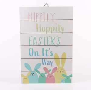 Easter Bunny Pattern Hanging Board Nordic Home Wood Crafts Hanging Board Easter Crafts Party Wall Door Decoration FFC5747