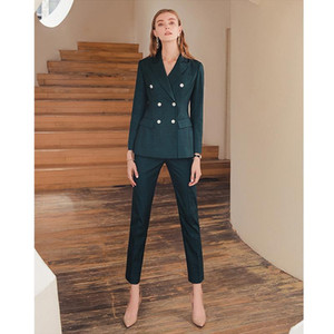 ancient ways the double-breasted business women's clothing professional suit small green plaid blazer women dress