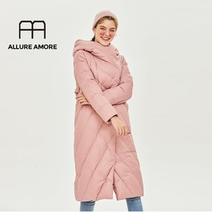 Allure Amore Kadınlar Beyaz Ördek Aşağı Ceket Rüzgar Geçirmez Kapitone Ceket Stand-up Yaka Kapşonlu Parka Hafif Kirpon Kıyafetleri 201123