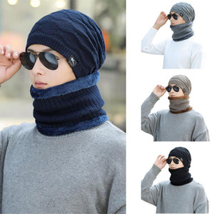 Men Women Winter Caps Soft Wooly Thick Knit Hat and Scarf Set Windproof Thermal Woollen Skiing Cycling Outdoor Cap Fashion