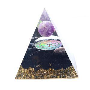 5 unids de moda Muchos colores Piedra y resina Orgone Energy Pyramid Colgante Símbolo 3D Espiritual Jewelr