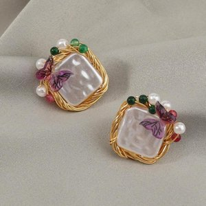 Exquisite Design Golden Wire Hand-Wrapped Geometric Baroque Pearls and Butterfly Fashion Post Earrings for Women