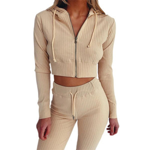 Women Knitted Tracksuit Women Casual Yoga Sport 2 Piece Set Outfits Long Sleeve Hoodie Sweatshirt Tops+Joggers Leggings Pants