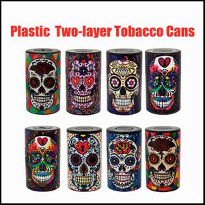 DHL Free Herb Moedores Moedor Plástico Pressionado Duas Camadas Tabaco Latas Ghost Head Bag Folha Folha Folha ToBacco Caixa de tabaco