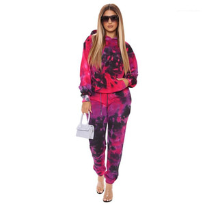 Piece Set Casual Contrast Color Two Piece Pants Tie Dye Designer Womens Tracksuits Hooded Sports Two